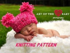 Chunky Jester Pompom Baby Hat Knitting Pattern #110    PLEASE NOTE: This is a set of instructions, not the physical object.  Once you have paid, you will