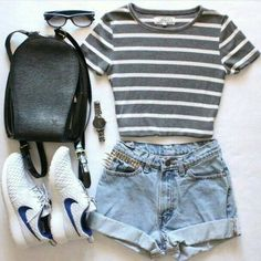 Gray and White Striped Shirt with Denim Shorts and Sneakers