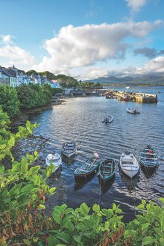 July evening at Roundstone Harbour; Photo by Robert Riddell Galway Ireland, Ireland Travel, Connemara Ireland, Southern Ireland, Dream Vacations, West Coast, Places To See, Travel Photography, Beautiful Places