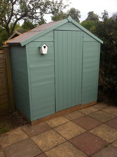 My newly painted shed! :-) ignore the paint splatters all over the paving slabs...! #cuprinol #seagrass #shed