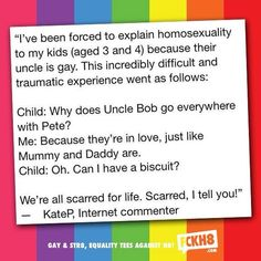 Perfectly cute...thought this was going to be some ignorance, and it wasn't :-) #fckh8