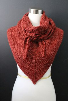 Guernsey Shawl knit pattern on Ravelry. Madelinetosh pashmina yarn in ember. Knit by Carol McKenna.