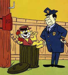 Top Cat with his nemesis Officer Dibble.Top Cat is an animated television series made by the Hanna-Barbera studios which ran from September 1961 to April 1962 for a run of 30 episodes on the ABC network. Classic Cartoon Characters, Favorite Cartoon Character, Cartoon Tv, Classic Cartoons, Cartoon Shows, Hanna Barbera, Vintage Cartoons, 1970s Cartoons, Old School Cartoons