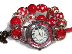 Red and Silver Beaded Holiday Watch  Interchangeable by BeadsnTime