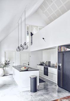 Lamp shades, counter, black fridge http://amzn.to/2jlTh5k