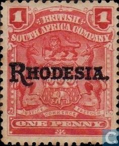 Stamps - Rhodesia - Coat of arms, with overprint 1909