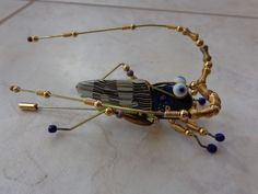 VINTAGE  JEWELRY 10 CYNTHIA CHUANG RARE UNIQUE GRASSHOPPER STICKPIN PIN BROOCH #Jewelry10