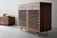 millord Furniture, Modern Furniture, Iron Furniture, Furniture Accessories, Cabinet Furniture, Furniture Making, Cool Furniture, Wood Design, Walnut Furniture