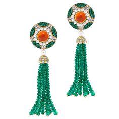 One-of-a-kind Emerald, Spessartine Garnet and Diamond Tassel Creation | See more rare vintage Drop Earrings at http://www.1stdibs.com/jewelry/earrings/drop-earrings