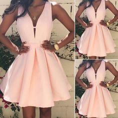 Sale Feminine Prom Dresses Pink, V Neck Prom Dresses, Short Homecoming Dress, Cute Homecoming Dress Simple Homecoming Dresses, Pink Prom Dresses, Dresses For Teens, Simple Dresses, Sexy Dresses, Dress Outfits, Casual Dresses, Dress Prom, Elegant Dresses