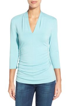 Vince Camuto Pleat V-Neck Top available at #Nordstrom