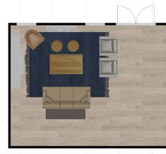 possible layout for furniture: sofa with console behind, two matching chairs, large coffee table, two ottomans and a side chair.
