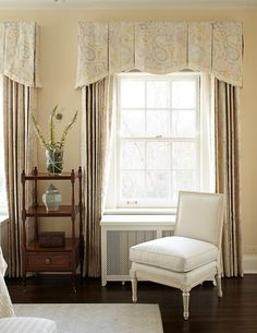 This is a Box Pleated Valance with angled pleats and stationary framing panels. Stunning, finishing, and simple.