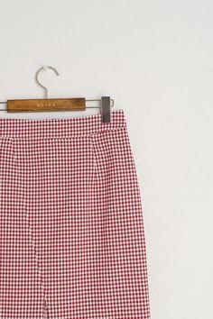Gingham Check Mid Length Skirt, Red