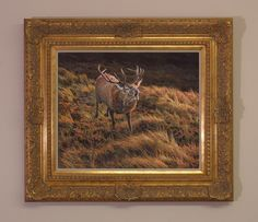 framed charging red deer stag oil painting for sale