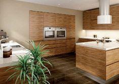 Nowoczesna drewniana kuchnia bez uchwytów   4 różne modele