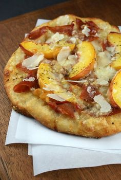 Authentic Suburban Gourmet: { Peach and Prosciutto Pizza } Can't wait to try this in Summer.