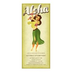 Hula Girl Luau Party Invitations $2.20 - These are super cool & I could make them for you for free-ninety-nine!