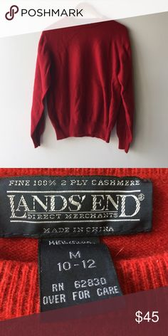 Red Cashmere sweater 100% 2 ply cashmere sweater Lands' End Sweaters