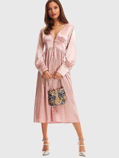 Glamorous Shirt Plain Regular Fit Deep V Neck Long Sleeve High Waist Pink Long Length Button Front Bishop Sleeve Satin Dress Satin Cami Dress, Satin Dresses, Button Front Dress, Bishop Sleeve, Latest Dress, Pink Fashion, Flare Dress, Dress Outfits, Dress Clothes