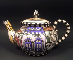 New Orleans Architecture Themed teapot and 4 by FleurDeLisPotterie