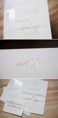 Formal and modern Madison Chic wedding invitations in Gold foil by Bella Figura