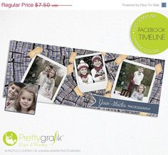 40% OFF SALE Facebook timeline cover photoshop template - custom timeline covers - photoshop template for photographers - instant download