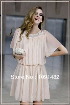 plus size 2014 summer batwing sleeve slim high-end women pleated chiffon dress  $26.92