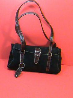 TIGNANELLO Shoulder Bag Hand Bag Purse~SUEDE~BLACK