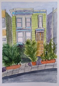 Victorian Town House, San Francisco set by Toony Underhill and sent in by Eileen Terry The Artist Magazine, Town House, Magazines, Exercises, San Francisco, Victorian, Projects, Painting, Journals