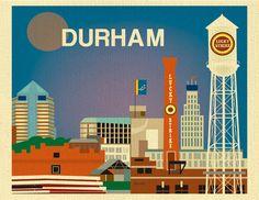 Durham North Carolina Print  Top Seller  by loosepetals on Etsy