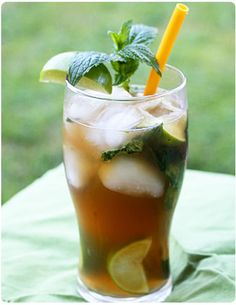 Shel Mojito - a recipe from a local gardening center. Muddle 2 fresh mint leaves, add a drop of mint extract, tbsp of sugar cane syrup or agave syrup, and of a lime. Pour over ice, then add cup of and cup of iced green tea. Sparkling Drinks, Fun Cocktails, Summer Drinks, Fun Drinks, Beverages, Holiday Drinks, Cold Drinks, Cocktail Recipes, Alcoholic Iced Tea