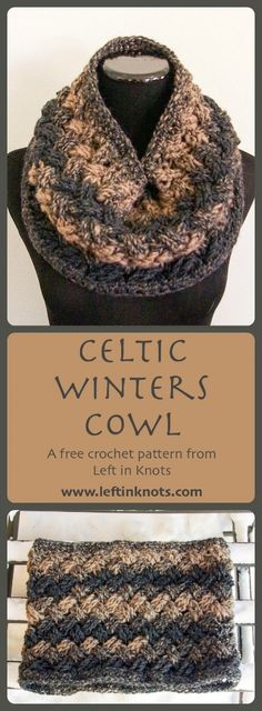 Class, style and luxury - you can find them all in the Celtic Winters Cowl.  A free crochet pattern and number 5 in the Seven Days of Scarfie!  Learn a new stitch with the help of a linked video tutorial, and make this elegant cowl with only one skein of @lionbrandyarn Scarfie yarn.