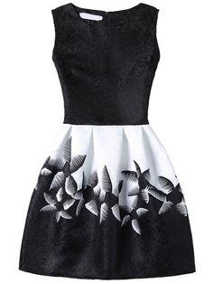 9e3cb3d296ed Abstract Flower Print Fit   Flare Dress - Black Jacquard Dress