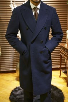 Navy Wool double breast coat by Vanni Korea, Mens Fall Winter Fashion.