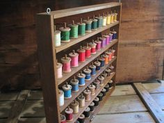 Vintage Sewing Spool Rack Colorful Thread by thelongacreflea