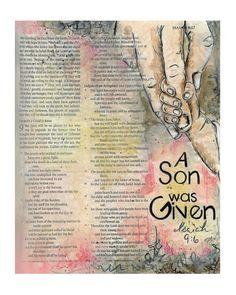 A Son was Given Bible Journaling Scripture Art by ruthonesixteen