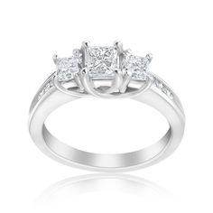 Andrew Charles 14k Gold 1 1/2ct TDW 3-stone Diamond Princess Ring