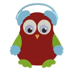 Owl wearing Earmuffs  Christmas Filled Machine Embroidery Digitized Design Pattern #christmas #embroidery #applique #owl