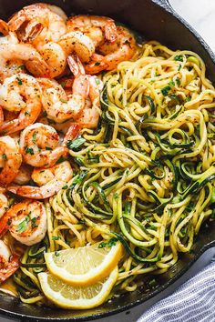 Lemon Garlic Butter Shrimp with Zucchini Noodles - This fantastic meal. Lemon Garlic Butter Shrimp with Zucchini Noodles - This fantastic meal cooks in one skillet in just 10 minutes. Low carb, paleo, keto, and gluten free. Fish Recipes, Paleo Recipes, Lunch Recipes, Low Carb Shrimp Recipes, Zoodle Recipes, Spiralizer Recipes, Cabbage Recipes, Shrimp Recipes For Dinner, Cheap Recipes