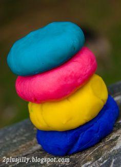diy play dough: 4c all purpose flour, 4c water, 8tsp lemon juice, 1/4c vegetable oil, 2tblsp salt, food coloring