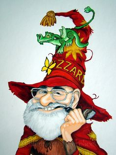 Acryl painting of Sir Terry Pratchett as Rincewind, in honour of his work and creations and as a birthday gift for my sister, who is a great fan of Disk World.