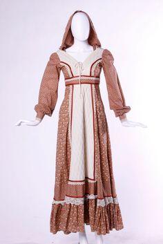 Vintage 70's Hooded Dress Gunne Sax Prairie Floral Print