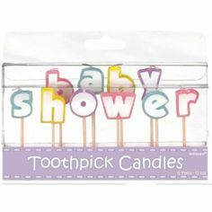"""Baby Shower Glitter Candles by AMSCAN. $5.84. Boxed. 10 Candle Picks- Spell Baby Shower. Lovely pastel styling for baby boys,baby girls and baby suprises.. Use on your baby shower cake. Don't forget to top off your fabulous baby shower cake creation, with these toothpick candles, which spell out """"baby shower"""" Work great for both boy and girls and don't forget about the little baby suprises. Coordinates with many popular baby shower party supply themes."""