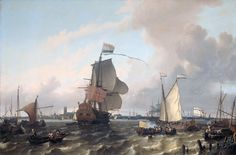 he Warship Briele on the Maas before Rotterdam By Ludolf  Bakhuysen, 1689  Rijksmuseum Amsterdam