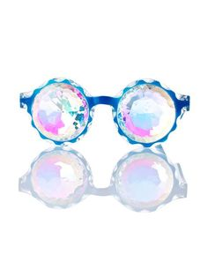 GloFx Crown Blue Kaleidoscope Glasses ready to get trippy, bb? Step into a new world with these glasses that feature plastic blue frames and multi-faceted glass crystal kaleidoscope lenses to give yew a prismatic new view.