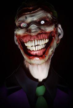Insanely Terrifying Portrait of The Joker. my fear of the joker just got worse Gruseliger Clown, Creepy Clown, Clown Mask, Art Du Joker, Comic Books Art, Comic Art, Joker Kunst, Masque Halloween, The Crow