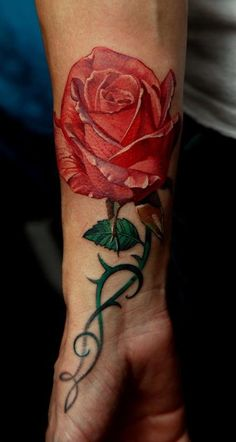 1000 images about red rose tattoos on pinterest red for Rose with stem tattoo designs