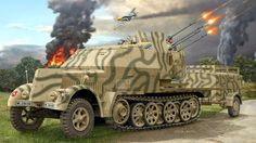 Sd.Kfz-7-1 - G. Kiawek - Revell German Soldiers Ww2, German Army, Army Vehicles, Armored Vehicles, Military Diorama, Military Art, Luftwaffe, Space Ship Concept Art, Military Drawings