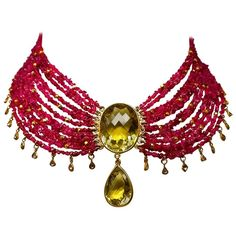 Dancing Apsara Ruby Diamond Citrine Bead Drop Necklace | From a unique collection of vintage drop necklaces at https://www.1stdibs.com/jewelry/necklaces/drop-necklaces/